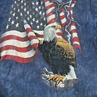 The Mountain Mens Bald Eagle USA Flag T-Shirt Size Tie Dye Blue Size XL Made USA