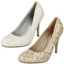 Zapatos de Tacón Alto señoras ENCAJE punto en detalle de Brillo Zapatos Taco aguja Boda Tribunal Zapatos F9R603