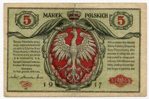 POLAND 1917 ISSUE 5 MAREK BANKNOTE SCARCE FINE/VF.Pick#10.