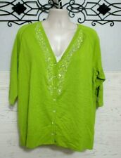 Susan Graver Cardigan Size 2X Sweater Glamour Green 3/4 Sleeved Christmas