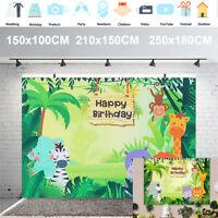 Cartoon Animals Photography Backdrop Jungle Safari Birthday Party Decor Reusable