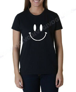 Ladies Smiley Face T Shirt Smile Happy Funny T-shirt Tee Fun Humor Gift Present