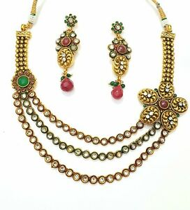 Traditional alloy base , gold plated three strand multistone choker necklace set