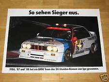 BMW M3 E30 POSTER 15 - SIEGER SPA 1986/87/88 - ORIGINAL VINTAGE in MINT RAR