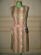 ROBE RAYURES ROSE ANCIENNE VINTAGE NEUVE TISSUS TOILE MAGASIN ST TROPEZ