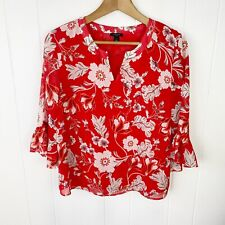 Ann Taylor Red Floral Blouse Ruffle 3/4 Sleeve Womens S Small C25