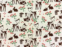 RPFMM113C Deer Fawn Berries Forest Mushroom Bambi Bunny Cotton Quilt Fabric