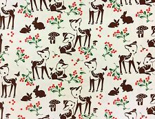 RPFMM113D Deer Fawn Berries Forest Mushroom Bambi Bunny Cotton Quilt Fabric