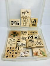 Wood Rubber Stamps Art/Crafts Projects Lot Of 19 Various Sizes With Case