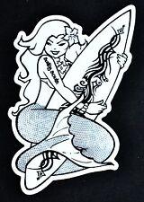 Salty Souls Hawaiian Mermaid with Surfboard Sticker Decal Salt Beach Surf Life