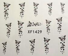 Accessoire ongles, nail art , Stickers décalcomanie, papillons et étoiles
