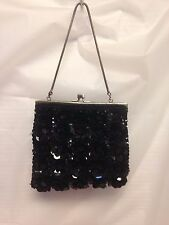 Vintage Hand Beaded Sequin 3D Floral purse Made in Hong Kong Black Nice