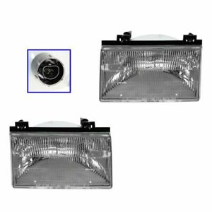 Headlights Headlamps Left & Right Pair Set NEW for 92-94 Ford Tempo Topaz