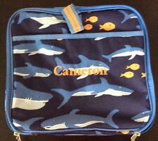 Pottery Barn Kids Teen Game Tote Fish And Sharks Monogrammed Cameron Pbt Nwot