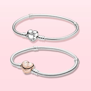 Pandora Moments Heart Clasp Snake Chain Bracelet STERLING SILVER With BOX