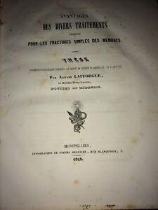 FRACTURES SIMPLES DES MEMBRES par A.LAFFORGUE de MARTRES (HAUTE-GARONNE) .1848.