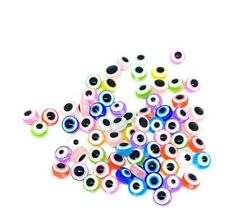 100 psc Evil Eye Beads, Flat Round,Acrylic Beads Mixed Colors Jewellery Making