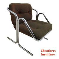 Vintage Mid Century Cantilever Chrome Sling Lounge Chair