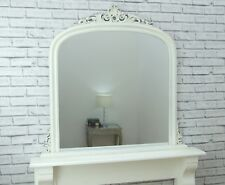 Dayton Large Antique White Ornate Arched Overmantle Wall Mirror 109cm X 104cm