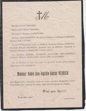 1914 Faire-part décès André-Jean-Baptiste-Gabriel VERDIER - Monguilhem (Gers).