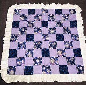 "Hand Sewn Lap Quilt Purple Sun Moon Stars Ruffle 46"" Square"