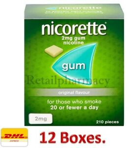 Nicorette Gum Original Flavour 2mg of 210 Available in 12 Boxes July 2023
