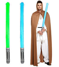 Fancy Dress Brown Cape With Light Sabre Inflatable Jedi Men's Halloween Costume