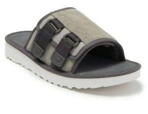 UGG Dune Suede Wool Lined Men's Comfort Slides Sandals Ice Grey New