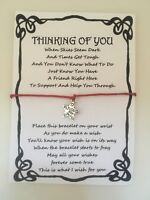 WISH BRACELET THINKING OF YOU FRIEND SUPPORT GIFT CARD VARIOUS COLOURS CHARMS