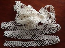 ANTIQUE / VINTAGE UNUSED LONG LENGTH CREAM COTTON LACE 195 X 1 /2 INCH