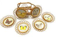 Vintage Gailstyn Sutton Taiwan Set 6 Coasters Home Decor Butterfly Rattan Brown