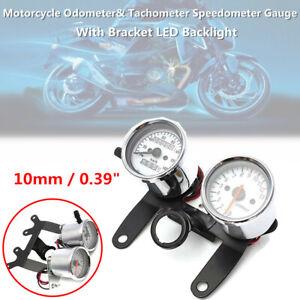 Motorcycle Bike Odometer& Tachometer Speedometer Gauge w/ Bracket LED Back Light