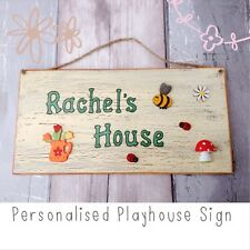 Outdoor Playhouse Name Sign. Child's Wooden Personalised Plaque. Weatherproof.