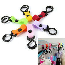 1/ 5x Pushchair Pram Buggy Stroller Shopping Bag Baby Handle Clip Strap Hooks1