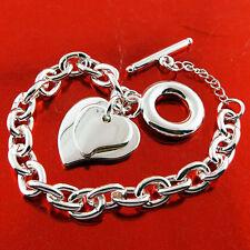 Bracelet Bangle Real 925 Sterling Silver S/F Solid Link Tbar Heart Charm Design