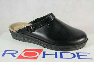 Rohde Women Clogs Slippers House Shoes Sabot Leather Black Wide G New