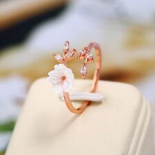 Eg _ Damen Mode Rose Vergoldet Zirkonia Zweige Muschel Blüten Offen Ring Dre