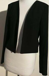 Pink Stitch Size 10 Black Cropped Jacket Fully Lined