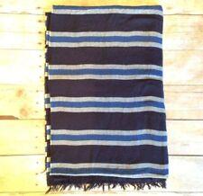 New NWOT J. Crew Navy blue white blue striped scarf with fringe