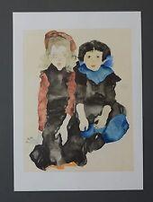 Egon Schiele Lichtdruck Lithograph 36x50 Signed 2 little girls 1911 Zwei Mädchen
