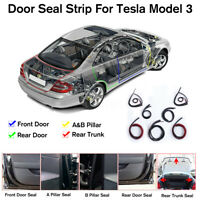 For Tesla Model 3 Soundproof Rubber Door + Trunk Seal Strip Noise Reduction .-