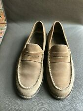 Tods Brown Grey Suede Penny Loafers Size UK9