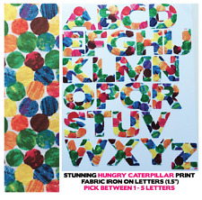 "Fabric Iron On Letters - HUNGRY CATERPILLAR - 1.5"" Cotton 1-5 Letters for £3!!"