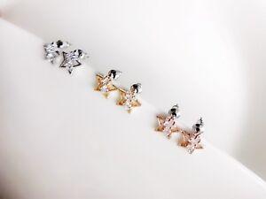 Ohrstecker Modeschmuck Edelstahl silber/gold/rosegold Stern(10mm) Strass NEU
