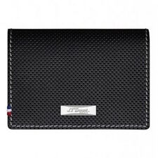 S.T. Dupont  Black Perforated Leather Card Holder Wallet, 170404, New In Box