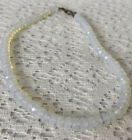 Beautiful 925 Opalescent Glass Beaded Necklace Vintage Jewelry 17 1/4