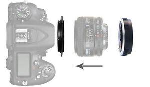 49mm Reverse Macro Adapter For Pentax PK Mount Lens + Protection Filter Ring UK