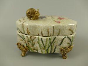 9977519 Messing Keramik Deckel-Dose floral Schnecke Wiesenblumen
