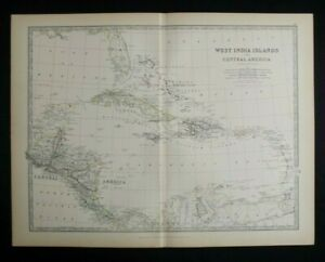 Antique Map: West India Islands by Alexander Keith Johnston, 1884