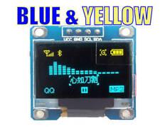 "0.96"" OLED 128X64 I2C SPI DUAL COLOUR Blue & Yellow Arduino Raspberry ESP32"